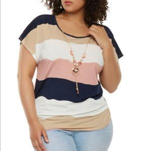 Tops - ➕ Striped Short Sleeve Top With Necklace